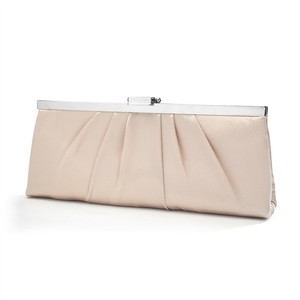 Mariell Sleek Framed Champagne Satin Wedding Clutch Purse 769eb-i