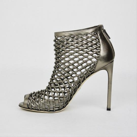 Gucci Leather Woven Open Toe Metallic Boots