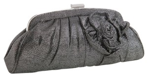Mariell Black Rose Evening Bridal Pewter Clutch