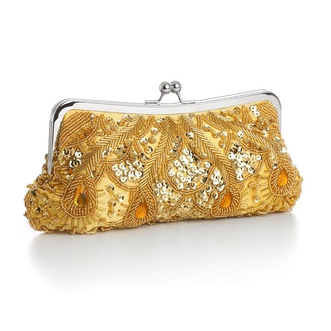 Mariell Evening Bag With Beads Sequins & Gems Gold Satin Clutch Mariell Evening Bag With Beads Sequins & Gems Gold Satin Clutch Image 1