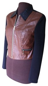 Cache Casual Bodycon Soft Ribbed Two-tone Raisin Brown Leather And Black Spandex Jacket