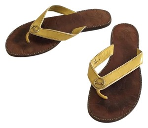 Coach Deney Deney Patent Yellow Sandals