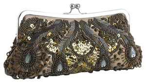 Mariell Evening Sequin Beaded Olive Clutch