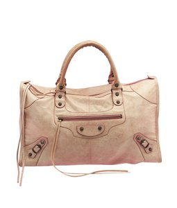 Balenciaga Work Leather Motorcycle Tote in Pink