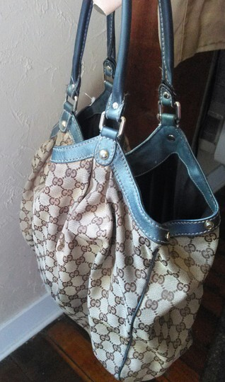 Gucci Satchel in beige and blue leather