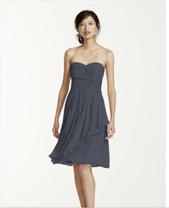 David's Bridal Pewter Grey Short Crinkle Chiffon Dress With Front Cascade Dress