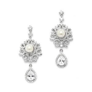 Silver/Rhodium Brilliant Micro Pave Crystals Pearl Couture Earrings - item med img