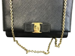 Salvatore Ferragamo Leather Strap Chain Black Clutch