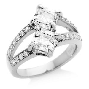 Daniel K Asscher Cut Diamonds With Pave Set In Platinum Total 1.71 Ct (0.87 Ct Color F Clarity Vs2 And 0.84 Ct Color F