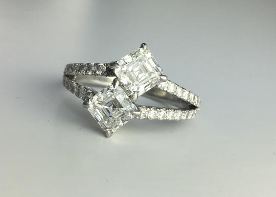 Asscher Cut Diamonds with Pave Set In Platinum Total 1.71 Ct (0.87 Ct Color F Clarity Vs2 and 0.84 Ct Color F Engagement Ring