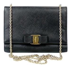 Salvatore Ferragamo Patent Leather Chain Textured Cross Body Bag