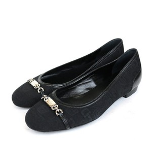 Gucci Horsebit Canvas Ballet Black Flats