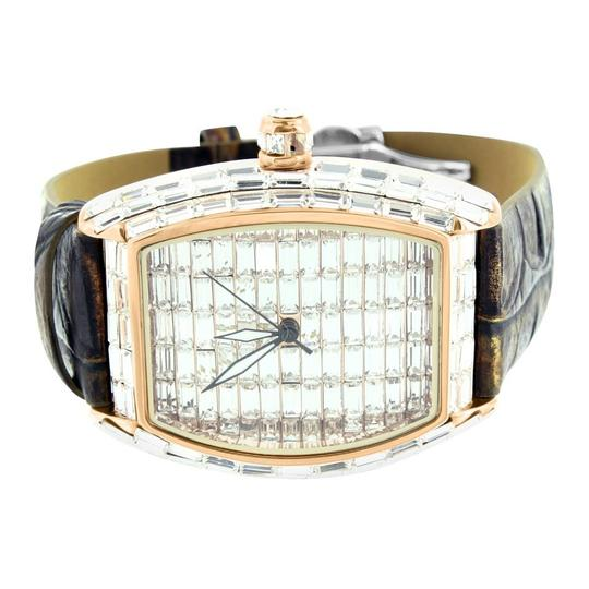 Other Mens Lab Diamond Baguette Watch Master Of Bling Rose Tone Leather Band