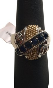 Lagos LAGOS 18K Gold Sterling Silver and Blue Sapphire Ring Size 7