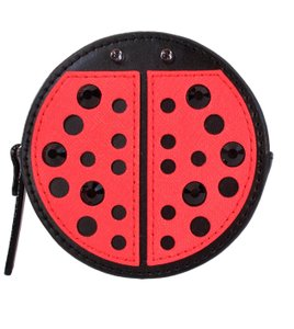 Kate Spade Ladybug Coin Purse Pouch Wallet NWT $79 Black Geranium Red