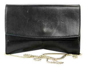 Narciso Rodriguez Nappa Leather Chain Gold Hardware Evening Black Clutch