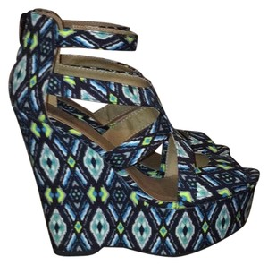 Shi by JOURNEYS Blue/Green Wedges