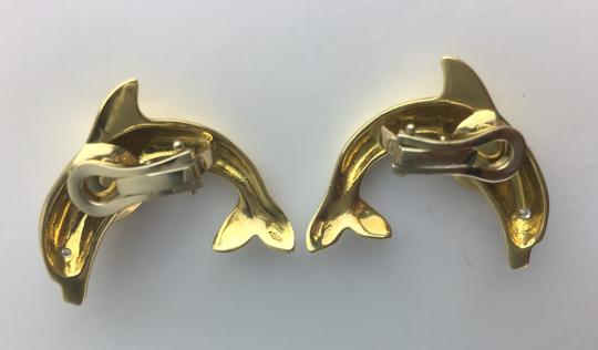 Other Vintage 0.04ct Diamond & 18K Yellow Gold Dolphin Clip Earrings