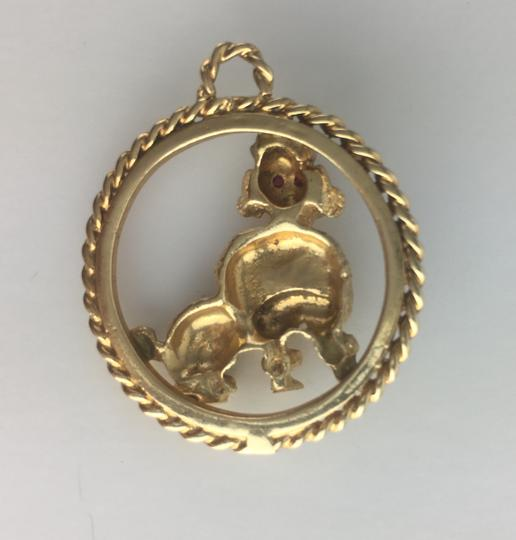 Other Vintage 14K Yellow Gold Sheep Pendant with Ruby Eyes