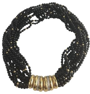 Other VINTAGE MULTI-STRAND BLACK BEAD NOXE NECKLACE 14K GOLD DIAMONDS CLASP