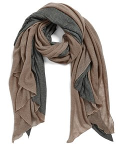 Donni Charm Donni Charm Women's 'Together Touch' Colorblock Scarf Brown Grey