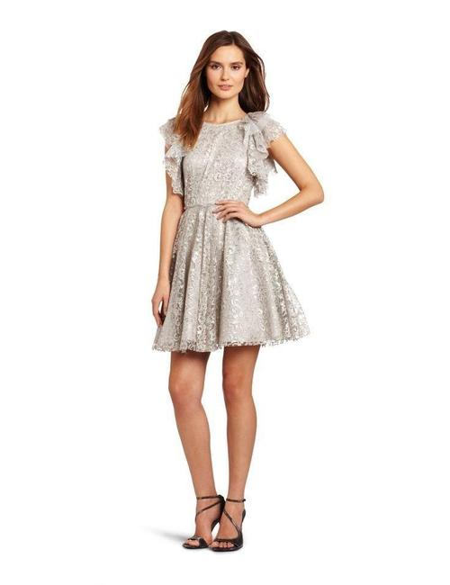 Item - Silver Bcbg Cynthia Above Knee Night Out Dress Size 10 (M)