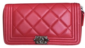 Chanel LE BOY LAMBSKIN ZIP AROUND WALLET