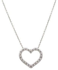 Roberto Coin Roberto Coin Diamond Open Heart Pendant Necklace 18 Karat White Gold