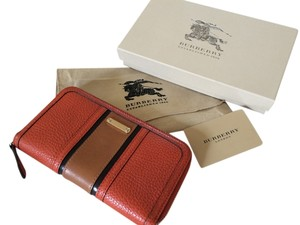 Burberry Burberry color block orange wallet
