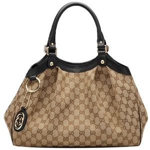 Gucci Sukey Black Tote in Beige w/Brown leather trim