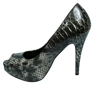 Charlotte Russe Snakeskin Open Toe Gray Pumps