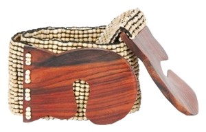 TLC Beaded/Wooden Hook Buckle Stretch Belt - Natural (Brand New)