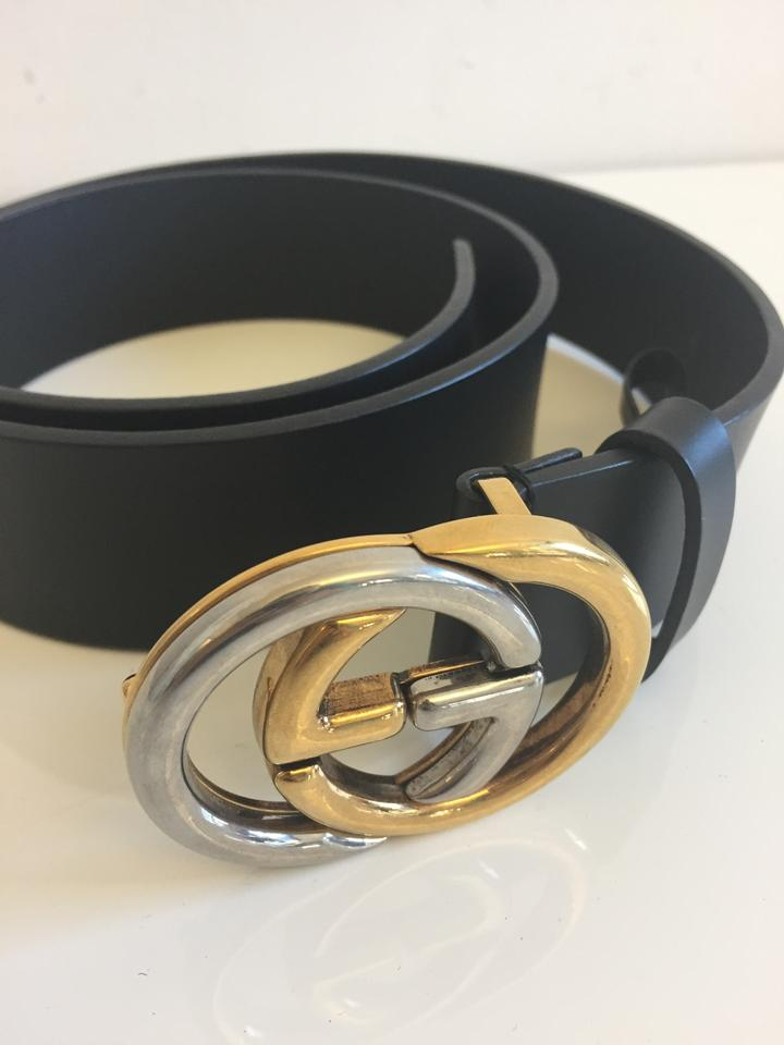 a7a978d112 Gucci Gucci Belt with Two-Tone Interlocking G Buckle Image 5. 123456