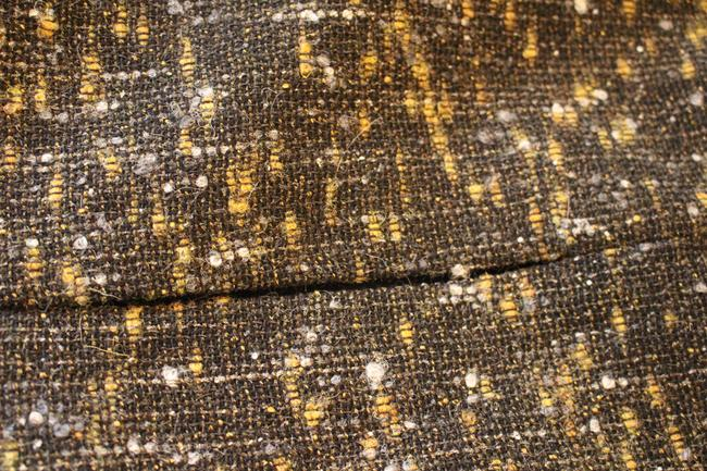 Elie Tahari Alpaca Mohair Virgin Wool Sophisticated Skirt Black, White, Yellow/Gold Tweed