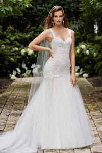 Wtoo Ivory Over Light Nude Stretch Satin/ Shimmering Tulle Giselle Modern Wedding Dress Size 10 (M)