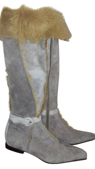 Cesare Paciotti Beige Red Lining Suede Leather with Fur Inside Boots/Booties Size US 7 Regular (M, B) Cesare Paciotti Beige Red Lining Suede Leather with Fur Inside Boots/Booties Size US 7 Regular (M, B) Image 1