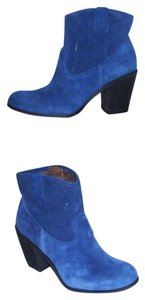 Vince Camuto Suede Perforated Leather Blue Boots