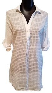 Maeve Semi Sheer Tunic Top White