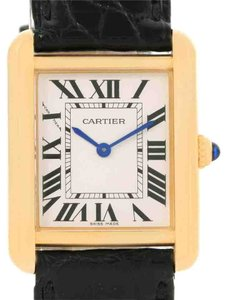 Cartier Cartier Tank Solo Small Yellow Gold Steel Black Strap Watch W1018755