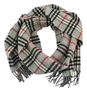 Burberry #8895 Grey check pattern Logo 100% Lambswool Scarf