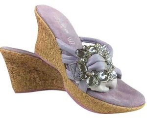 Cindy Says Slides Comfy Leather Lilac Sandals