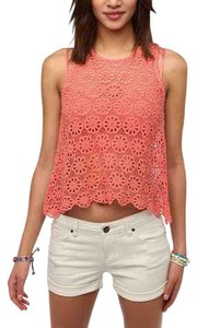 Pins and Needles Lace Coachella Crochet Top Coral