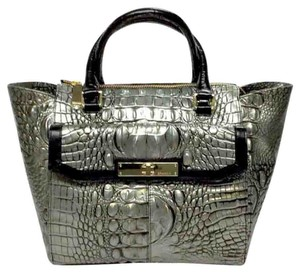 Brahmin Leather Malia Satchel in MYSTIC (Gray silver black)