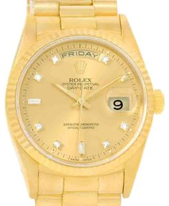 Rolex Rolex President Day Date Mens 18k Yellow Gold Diamond Watch 118238