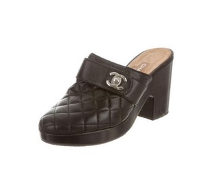 Chanel Black Chanel Quilted Lambskin Mules 11.5 Mules