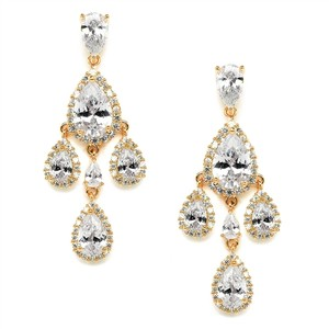 Mariell Gold Petite Cubic Zirconia Chandelier with Pear-shaped Halo Teardrops 4555e-g Earrings