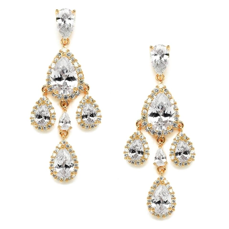 Mariell gold petite cubic zirconia chandelier with pear shaped mariell gold petite cubic zirconia chandelier with pear shaped halo teardrops 4555e g earrings arubaitofo Images