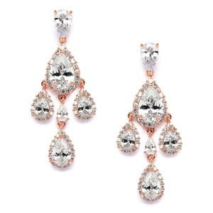 Mariell Petite Rose Gold Cubic Zirconia Chandelier Earrings With Pear-shaped Halo Teardrops 4555e-rg
