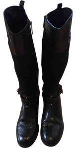 Tory Burch Black leather and Navy wool Boots