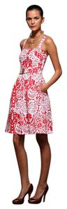 Shoshanna short dress Poppy and White Belted Red on Tradesy